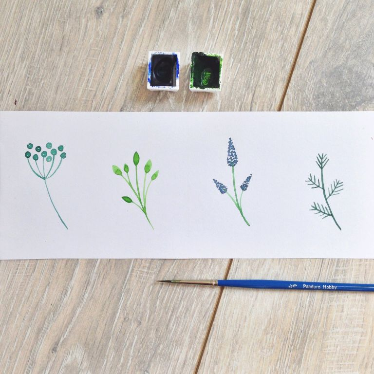 How to – watercolor plants for flower wreaths
