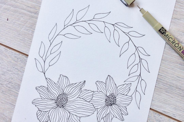 FREEBIE – Ink flower and leaf wreath