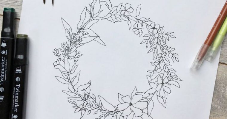 FREEBIE – Ink wreath