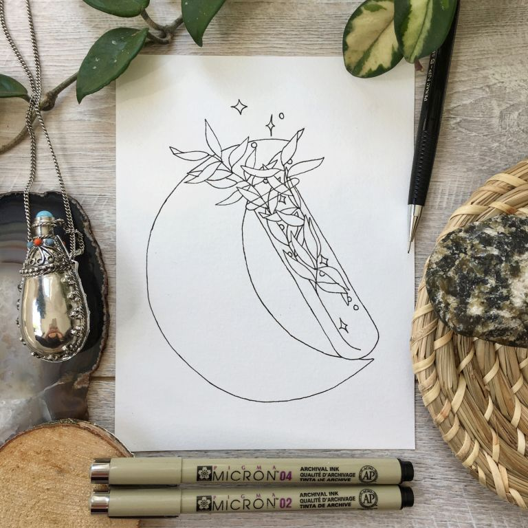 FREEBIE – moon & leaves linedrawing + HOW TO print